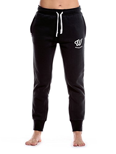 WOLDO Athletic Damen Jogginghose Jogger Trainingshose Sweatpants Sporthose Freizeithose Gym Fitness Hose Slim Fit schmal eng (M, Clark / schwarz/weiß) (Hat Adidas Athletic)