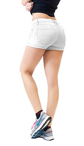 HyBrid & Company Damen Po heben Twill-Jeans-shorts 16 plus Weiß (Skimmer Jean Shorts)