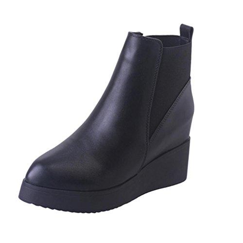 DOLDO Damenschuhe, Einfarbig Spitz Biker Boots Keile Stiefel Winter Boot (EU: 37, Schwarz) (Knie Stiefel Plattform Spitze)