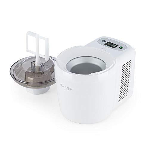 Klarstein schneeflöckchen • gelatiera • gelatiera elettrica • macchina per il gelato • volume 0,3 l • 90 watt • sistema termoelettrico • programmabile • display con timer • colore bianco