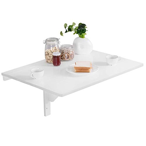 COSTWAY Table Murale Rabattable en Bois de Pin Double Plateaux Table de Cuisin Pliable 80 x 60 x 43 cm Blanche
