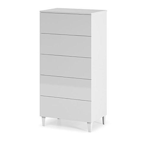 Habitdesign 007835BO - Cómoda chifonier nórdico, acabado blanco brillo , medida 117 x 61 x 40cm