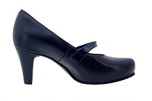 Piesanto Modell 5227 - Damenlederschuhe, Komfort, empfindliche Füße, herausnehmbare Innensohle, Sonderbreiten, bequeme Schuhe Marine