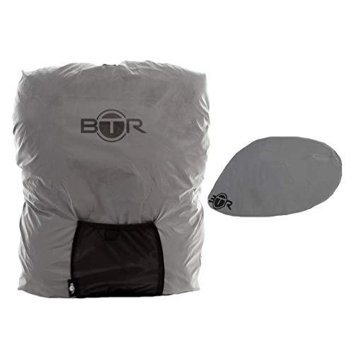 BTR Premium Regenschutz Rucksack Rucksacküberzug + Regenüberzug. Silber. Mittelgroß Silber Rucksack