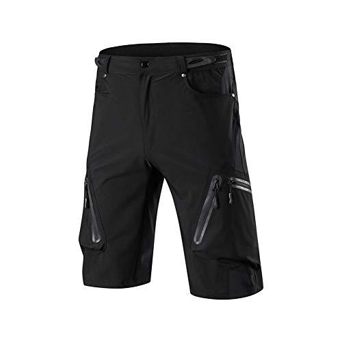 Hombres Pantalones Cortos de Ciclista Holgado Transpirable de Secado rápido Ligera BTT Montaña Ropa de la Bici con 7 Bolsillos de Bicicletas Cortos Negro L