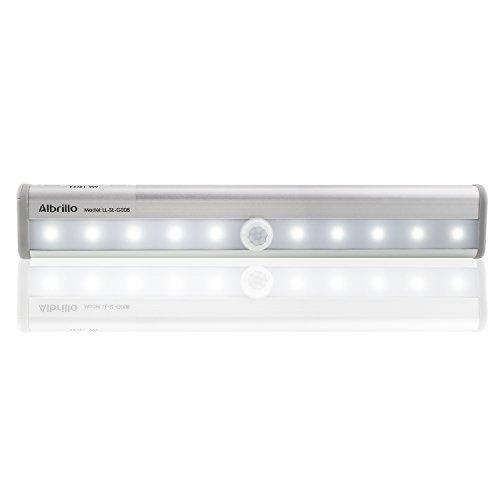 Albrillo Lampada Portatile per Armadio /Luce Notturna Wireless con Sensore di Movimento e Striscia Magnetica 10 LED
