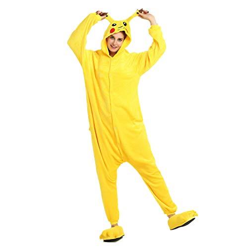 HOOLAZA Unisex Flanell Hoodie Tier Pyjama Pikachu Cartoon Pyjamas Onesies Overall Nachtwäsche Erwachsene Nachtwäsche Kigurumi Cosplay Kostüm