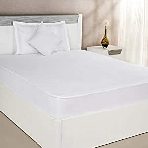 Amazon Brand - Solimo Waterproof Terry Cotton Mattress Protector, 75x36 inches, Single Bed Size (White)