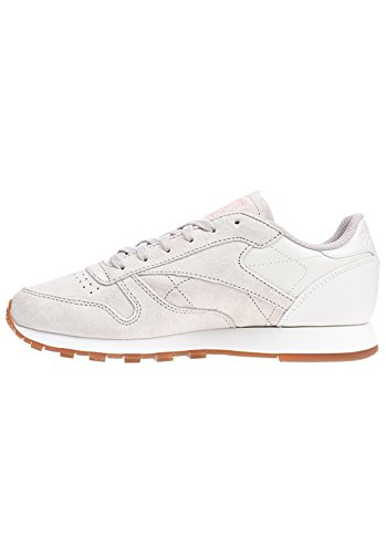 Reebok Cl Lthr Eb, Chaussures de sport femme Marron (Sand Stone/Craie/Sour Melon/Gum)