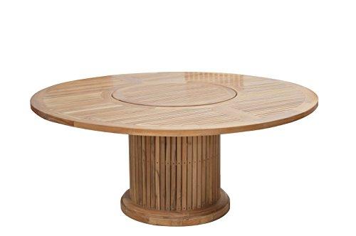 Ploß Gartentisch rund 160 cm für 7-8 Personen - Teakholztisch mit Drehteller 90 cm rund - Terrassentisch aus hochwertigem Teakholz - Garten-Esstisch Braun mit polierter Oberfläche