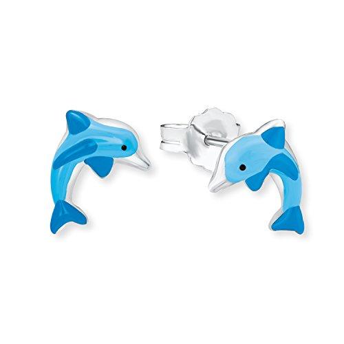 Amor Kinder-Ohrringe Ohrstecker Delfin Mädchen 925 Sterling Silber Emaille blau
