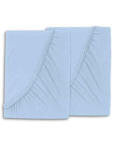 WOMETO 2 Stück Kinder Baby Spannbettlaken - 70x140 hellblau Baby blau Baumwolle Jersey OekoTex -