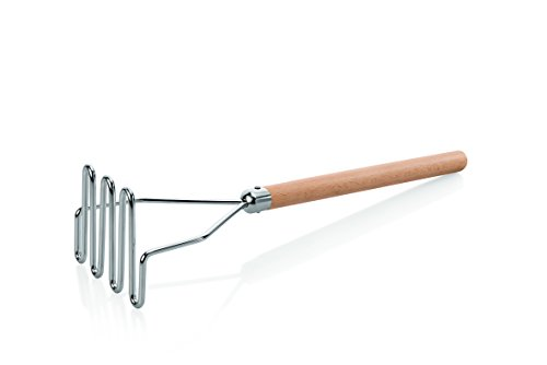 Kartoffelstampfer aus Chromnickelstahl - mit Holzgriff / A1 - Länge: 48 cm, Abmessung: 12,5 x 10,5 cm / A2 - Länge: 60 cm, Abmessung: 13 x 10,5 cm (A1 - Länge: 48 cm)