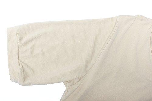 ReliBeauty Damen Kurzarm High Low Hem T-Shirt Falten Plissee Tunika Tops Beige