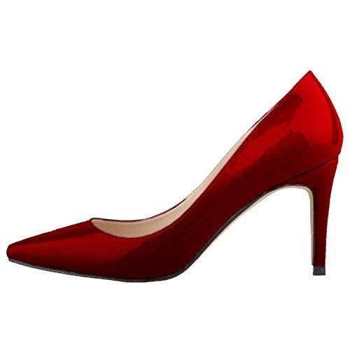 HooH Femmes Pointu Stiletto Chaussures De Mariage Escarpins Wine Red