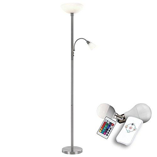 RGB LED 10,5 Watt Decken Fluter Farbwechsel Steh Stand Lampe Lese Leuchte Dimmer