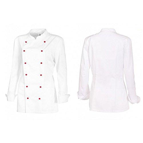 BP Koch-Jacke für Damen - Lieferung ohne Knöpfe - langarm - weiß - Größe: 44