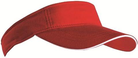 SPORTS SUN VISOR SANDWICH PEAK GOLF TENNIS CAP HAT - 12 COLOURS (MB6123) (RED / WHITE)
