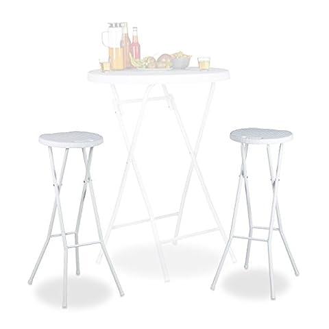 Relaxdays Tabouret pliant de jardin BASTIAN lot de 2 sans dossier résistant hauteur 80 cm chaise de bar plastique optique rotin, blanc