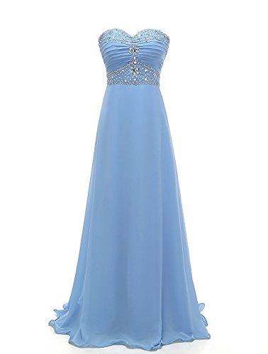 CoutureBridal® Damen Kleid Lang Abendkleider Ballkleid Brautjungferkleid Wulstige Chiffon Blau