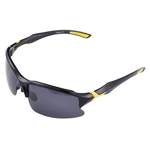 Polarisierende Radsportbrille/Fahrradbrille für Herren, bruchfeste Sport-/Fahrrad-Sonnenbrille, UV 400,STS014, für Outdoor-Aktivitäten, schwarz/gelb