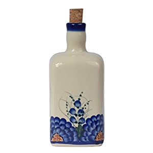 Traditional Polish Pottery, Handcrafted Ceramic Olive Oil or Vinegar Bottle 550ml, Boleslawiec Style Pattern, V.101.Arts
