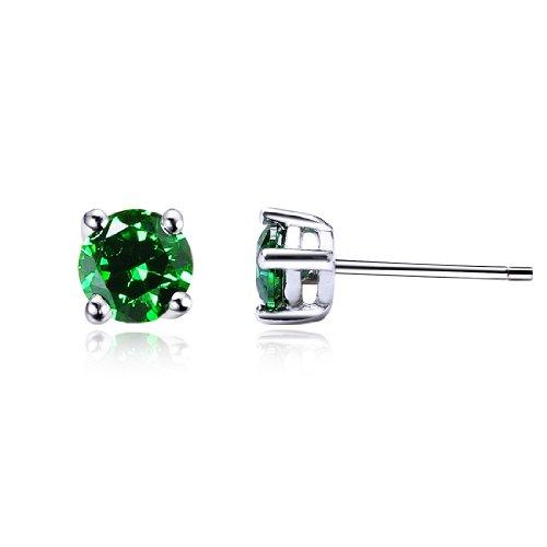 Da donna zircone cristallo verde rotonda stile classico argento 925 orecchini