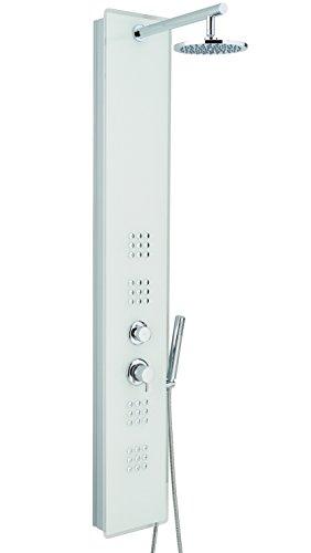 Metaform colonne de douche multifonction Crystal, aluminium laqué et verre, 25 x 53 x 160 cm blanc