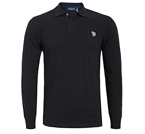 Paul Smith Herren Langarm Polo T-Shirt Zebra Logo Schwarz Grau Marine ROT S M L XL XXL Bio-Baumwolle - Schwarz, M