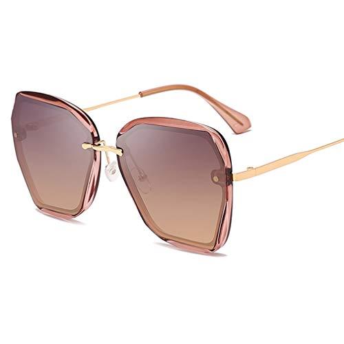 YHgiway Übergroße Sonnenbrille für Damen, Designer Polygon Geometric Mirrored Lens Shades Sonnenbrille - UV400 Schutz Fahren Brillen Outdoor YH7272,TransparentLightPurpleFrame