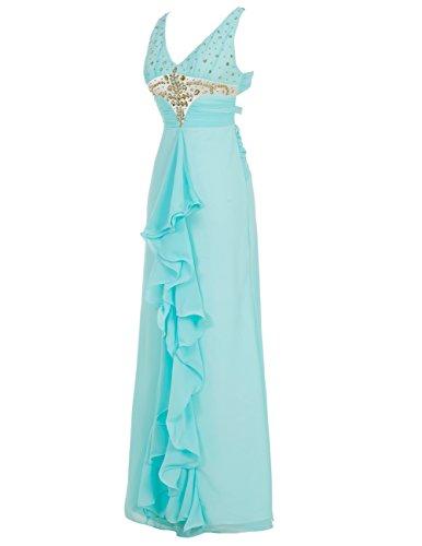 Dresstells Robe de cérémonie Robe de soirée forme empire col en V emperlée longueur ras du sol Rose