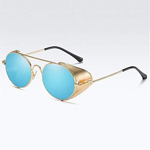 Gy-hhhh occhiali da sole retrò in metallo di lusso - protezioni laterali per uomo/donna occhiali con lenti trasparenti - occhiali da sole rotondi steam punk-blu