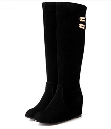 YCMDM Knight Bottes Noir Haute Qualité Matte Les Bottes Hauts Femmes Nouvelle Mode Tempérament Printemps Automne Hiver Noir 32 33 34 35 36 37 38 39 40 41 42 43 Black