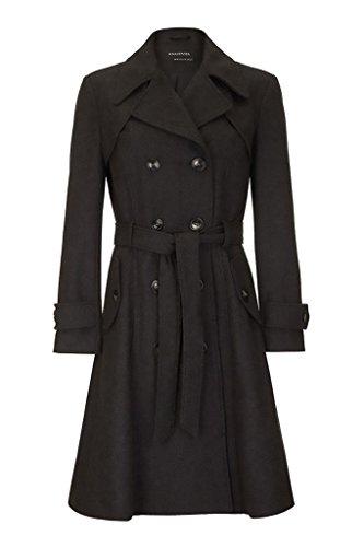 Belted Damen Trench Coat (Anastasia Damen Wolle Winter mit Gürtel Trench Mantel,dunkelgrau,40)