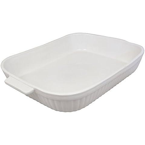 K&K Keramik - Pirofila quadrata, misura grande (39 cm), per 4-6 persone, in terracotta/ceramica di alta qualità, colore: Bianco