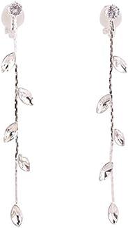 Grace Jun Silver Plated CZ Rhinestone Long Tassel Drop Earrings and Clip on Earrings No Pierced for Women