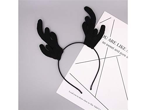 (Weihnachtsgeschenke Geweih Weihnachten Haarband Stirnband Weihnachtsfeier Kostüm Zubehör für Kind (schwarz))