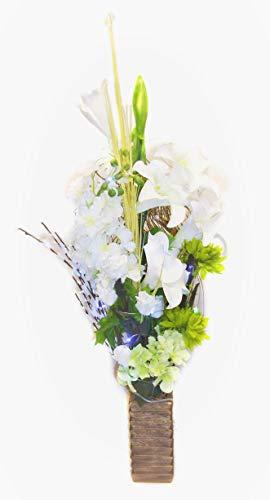 Hochzeit Display Einzigartige 85cm, grün und weiß Blumenstrauß in Vase aus Holz mit 20LED Lights 3AA-Batterien