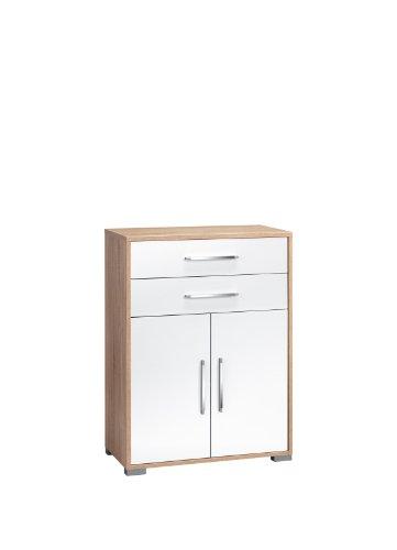 MAJA-Möbel 1227 2556 Aktenregal mit Schubladen und Türen, Sonoma-Eiche-Nachbildung - weiß Hochglanz, Abmessungen BxHxT: 80 x 109,7 x 40 cm
