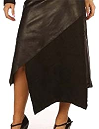 Gorgeous Real Leather Skirt With Wool Panels 1228