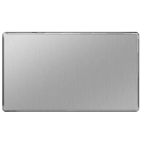 bg-nexus-flat-plate Steckdosenblende Double Socket Abdeckplatte, grau 2 Gang Blank Plate