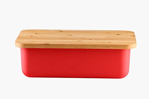 Geräumige Brotkasten aus Melamin oder Metall mit Bambusdeckel als Schneiderbrett Maße Metallbox 33x18x12cm oder Melamin Brotkasten 38x22x12cm verschieden Farben zum Auswahl (Melamin 38x22x12cm Rot)
