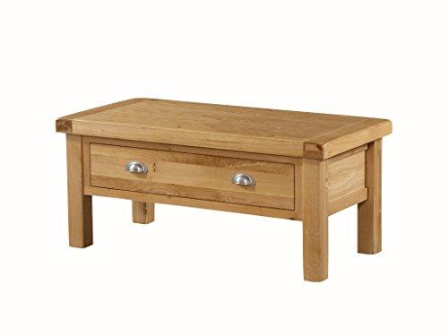 The One Newport en chêne Massif Medium de Stockage de Table Basse avec tiroir en chêne – Petite Table Basse de Rangement – Finition : Rustique en chêne Clair – Meuble de Salon