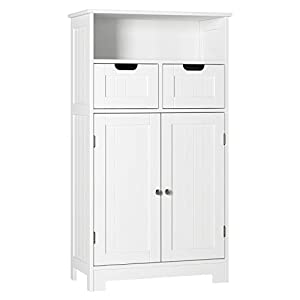 HOMECHO Badezimmerschrank Badkommode weiß vielseitig einsetzbares Badregal 2 Schubladen Eckschrank Aufbewahrungmit Doppeltür verstellbare Einlegeböden 60 x 100 x 30 cm (B x H x T)