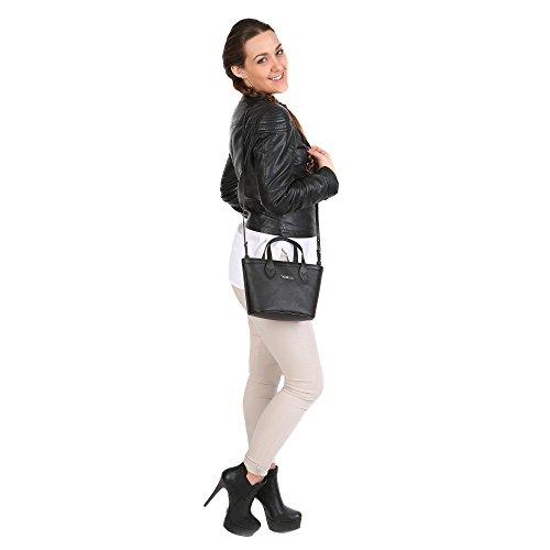 Trussardi Femme Petit sac provisions avec sangle d'épaule en Saffiano, Cuir de veau authentique 24x16x8 Cm Mod. 76B103M Noir