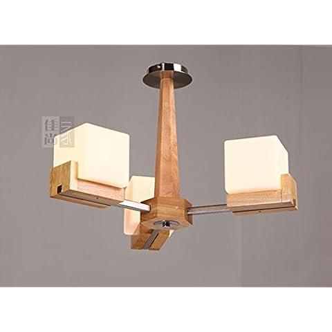 YM@YG Living lampade da soffitto Hall Hall plafoniere modo semplice moderna Arte legno soffitto rovere creativo semplice lampada a sospensione , 3 head