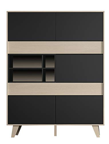 Habitdesign 0Z6636R - Mueble aparador Vitrina, Acabado Color Roble y Gris Oscuro, Medidas 121x156x41 cm de Fondo