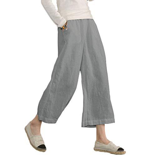 Ecupper Damen Leinenhose 7/8 Sommerhosen Leicht mit Elastischem Bund Casual Loose Fit Trousers Hell Grau 2XL