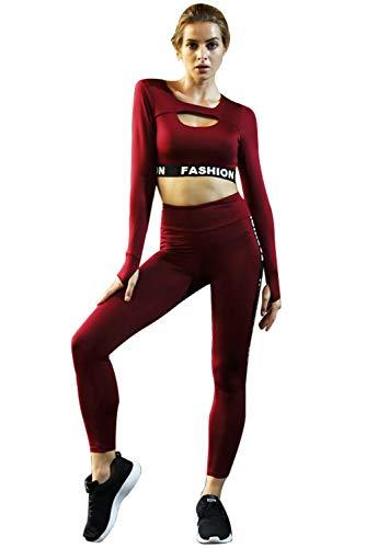 Donna Tuta da Ginnastica Due Pezzi Crop Top Maniche Lunghe Aderente e  Pantaloni Vita Alta Abbigliamento b589757ac0a