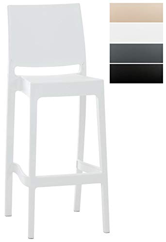 CLP Tabouret de Bar Maya en Plastique Empilable I Chaise de Bar Confortable avec Repose-Pied I Chaise Haute de Cuisine avec Dossier I Hauteur Assise 75 cm I Couleur: Blanc